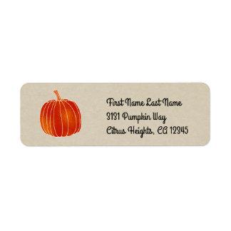Étiquette Automne rustique orange brillant de Papier
