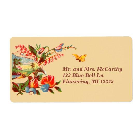 Étiquette Avery floral victorien vintage
