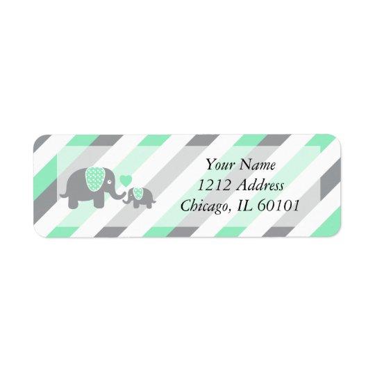 Étiquette Baby shower blanc, vert et gris d'éléphants de