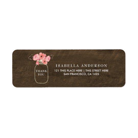 Étiquette Baby shower floral en bois rustique de pot et de
