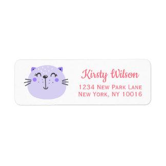 Étiquette Baby shower pourpre mignon du chat |