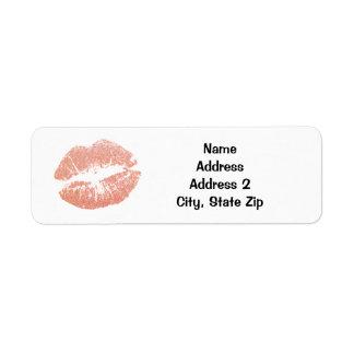 Étiquette Baiser de rouge à lèvres de Champagne d'or