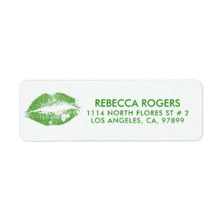 Étiquette Baiser Irlandais-Vert de lèvres et motif de points