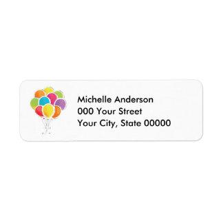 Étiquette Ballons colorés d'anniversaire