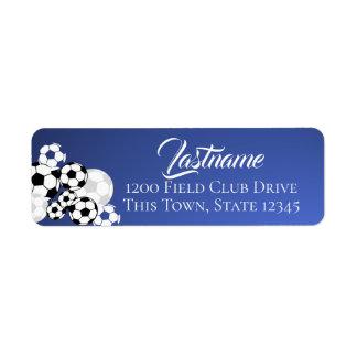 Étiquette Ballons de football bleus et adresse blanche