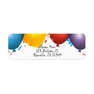 Étiquette Ballons et fête d'anniversaire colorés de