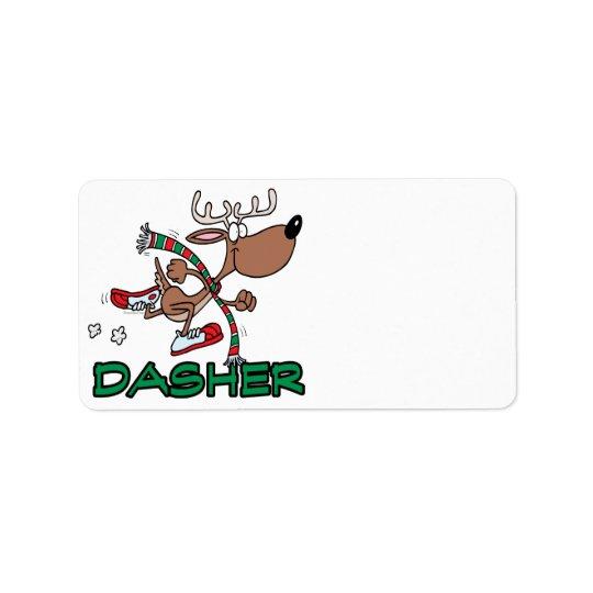 Étiquette bande dessinée courante mignonne du renne DASHER