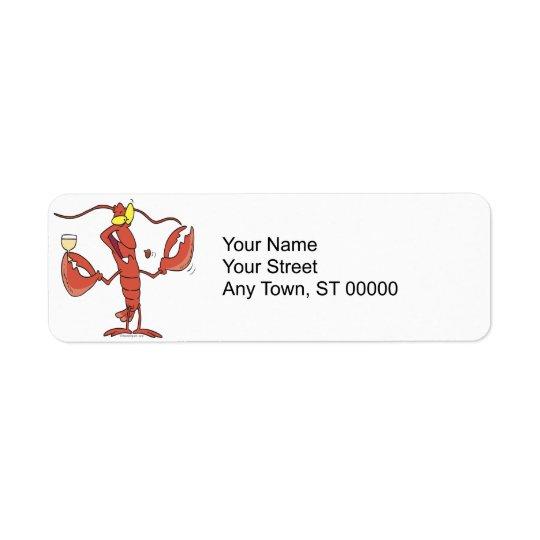 Étiquette bande dessinée drôle de homard de grillage