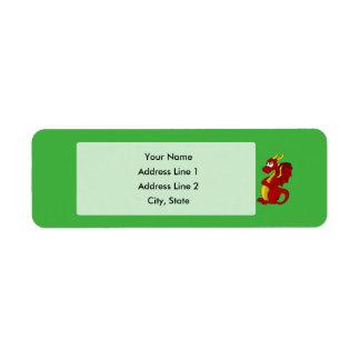 Étiquette Bande dessinée rouge de dragon