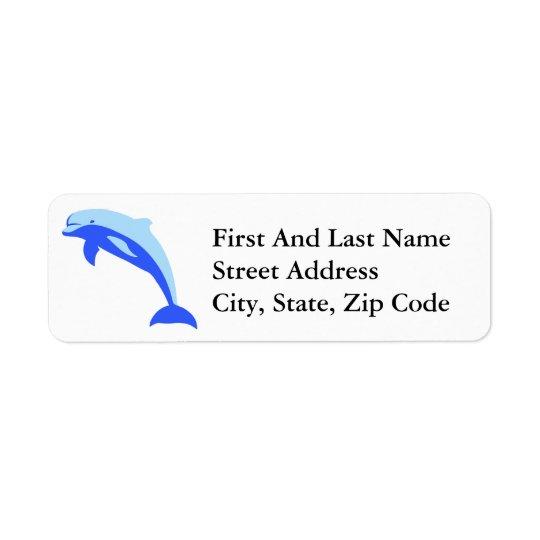 Étiquette Bande dessinée sautante bleue gaie de dauphin