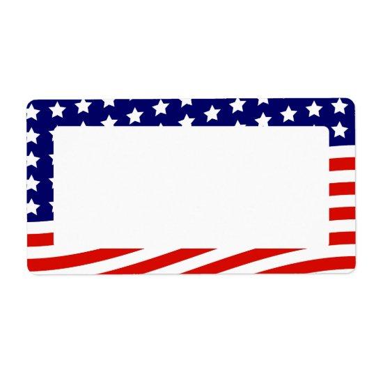 Étiquette Bannière étoilée drapeau américain 4 juillet
