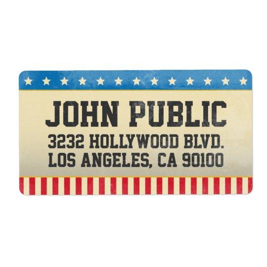 Étiquette Bannière étoilée vintage de grunge de l'Amérique