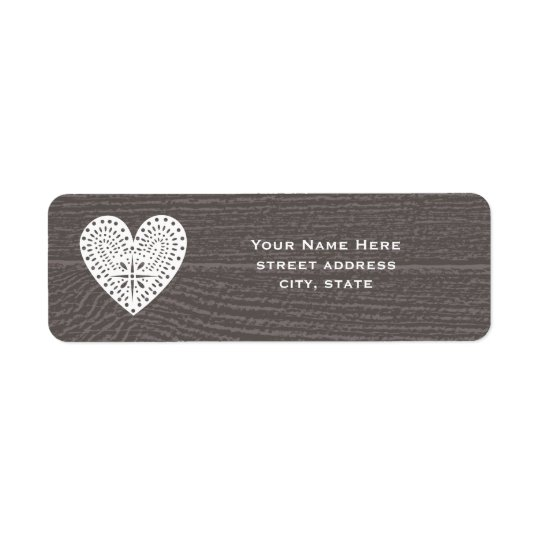 Étiquette Barnwood a inspiré l'étiquette de adresse de coeur
