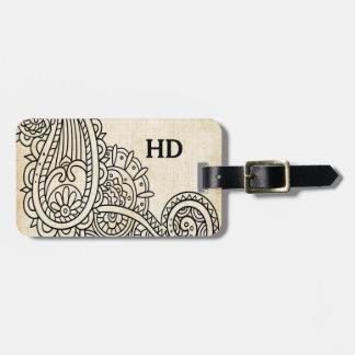 Étiquette beige de bagage de motif de Mehndi Étiquettes Bagages