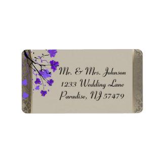 Étiquette Belle damassé argentée florale et antique pourpre