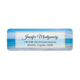 Étiquette Belle plage tropicale bleue