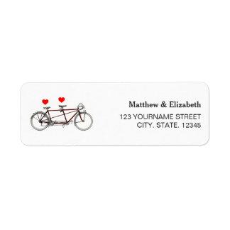 Étiquette Bicyclette tandem mignonne vintage épousant
