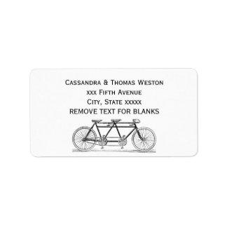 Étiquette Bicyclette vintage construite pour deux/vélo