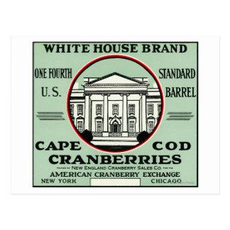 Étiquette blanc de canneberge de marque maison de cartes postales