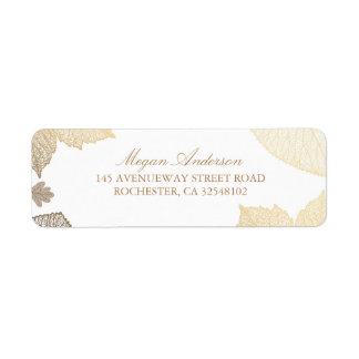 Étiquette Blanc et mariage de automne de feuille d'or