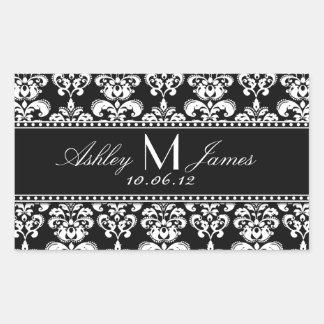 Étiquette blanc noir de vin de mariage damassé sticker rectangulaire