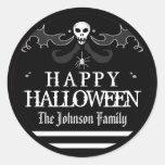 Étiquette blanc noir Halloween heureux de crâne de Sticker Rond