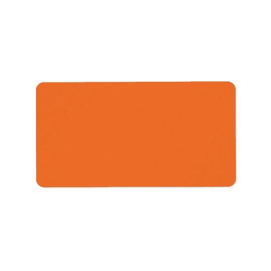 Étiquette Blanc orange simple de couleur solide d'arrière -