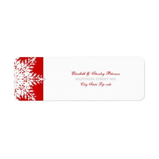Étiquette blanc rouge de mariage d'hiver de flocon