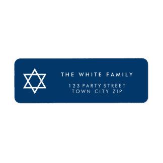 Étiquette Blanc simple simple moderne de bleu marine