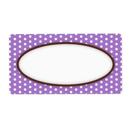 Étiquette Blanc violet pourpre chic de motif de points de