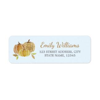 Étiquette bleu d'automne de citrouille d'or