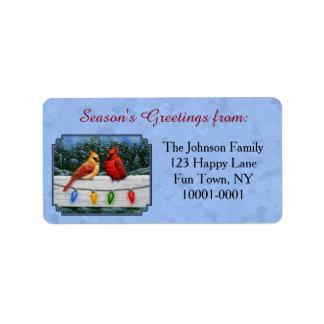 Étiquette Bleu de ciel de cardinaux et de lumières de Noël