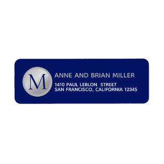 Étiquette bleu de M. Mme surname monogram
