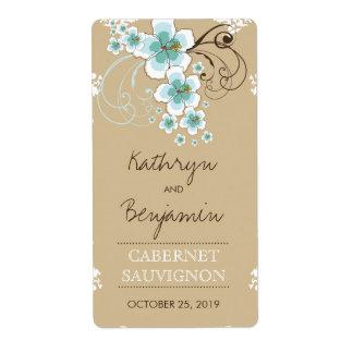Étiquette bleu de vin de mariage de ketmie