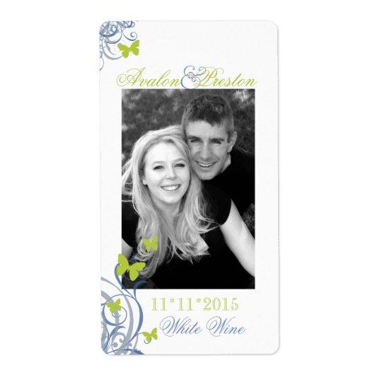 Étiquette bleu de vin de mariage de papillon de
