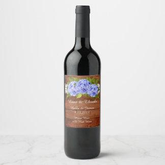 Étiquette bleu de vin de mariage d'hortensia de