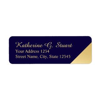 Étiquette Bleu marine et élégant moderne d'or