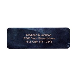 Étiquette Bleu marine et or rose épousant l'adresse de