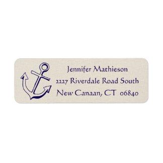Étiquette Bleu marine et Tan nautique d'ancre de bateau