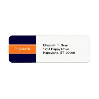 Étiquette Bleu marine solide, monogramme de nom de ruban de
