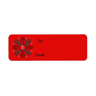 Étiquette Bleu rouge de N.S. Christmas d'ancre de flocon de