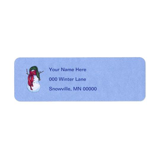 Étiquette Bleu vert de casquette de bonhomme de neige