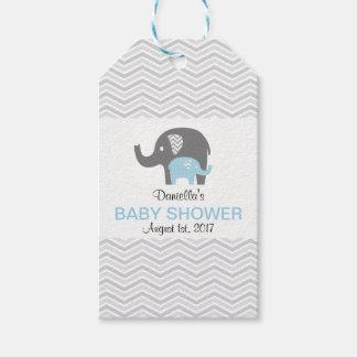 Étiquette bleue de baby shower d'éléphant de