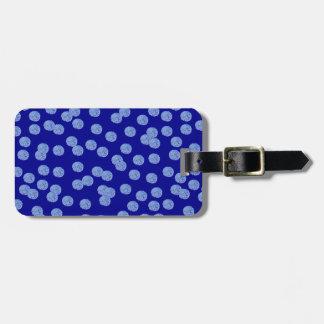 Étiquette bleue de bagage de pois étiquette pour bagages