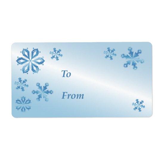 Étiquette bleue de cadeau de flocon de neige,