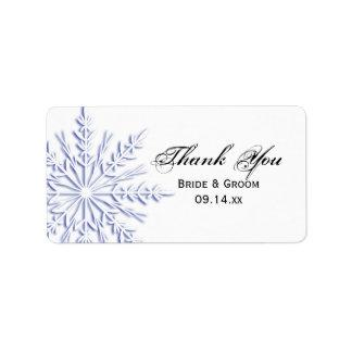 Étiquette bleue de faveur de Merci de mariage