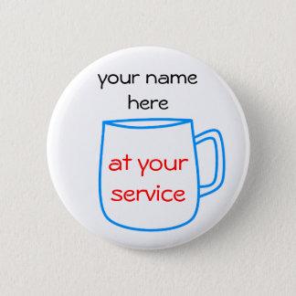 Étiquette bleue de nom de tasse de café badge