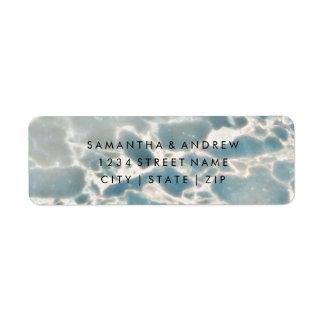 Étiquette Bleus d'océan en verre de mer de plage épousant
