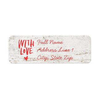 Étiquette Bois avec l'étiquette de adresse de retour d'amour