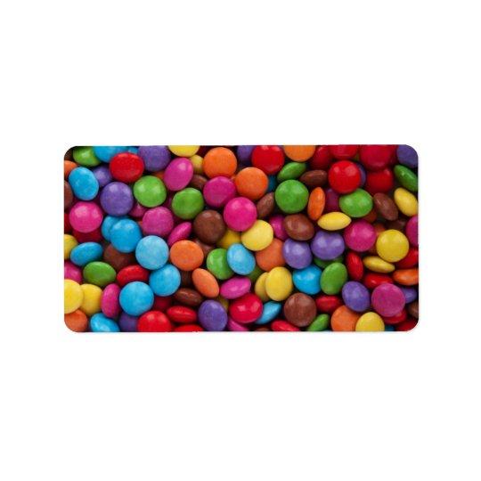 Étiquette Bonbons au chocolat colorés
